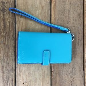 Lodis Teal Leather Wallet/Wristlet